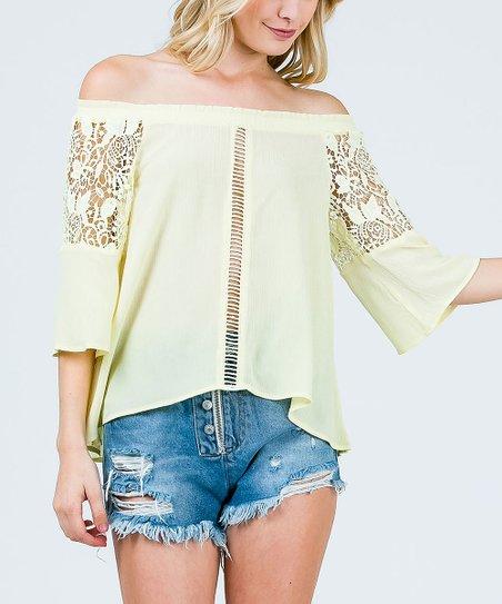 b7665c809f95a2 Sweet Generis Light Yellow Lace-Contrast Off-Shoulder Top - Women ...
