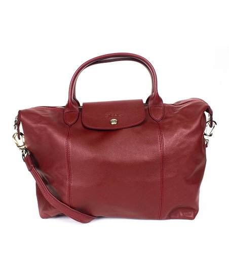 Longchamp Red Lacquer Le Pliage Cuir Leather Medium Tote