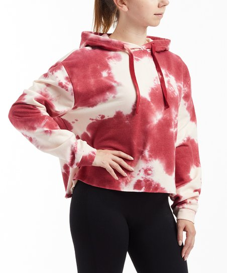 b8649d5714f87c love this product Maroon Tie Dye Crop Hoodie - Women