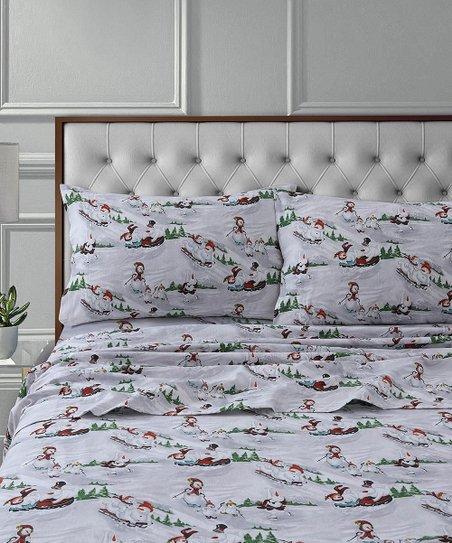 Marwah White Winter Wonderland Cotton Flannel Deep Pocket Sheet Set