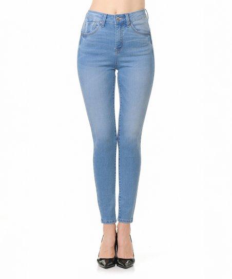 10a9fe2a10 Wax Jean Light Blue Push-Up High-Waist Skinny Jeans - Women | Zulily