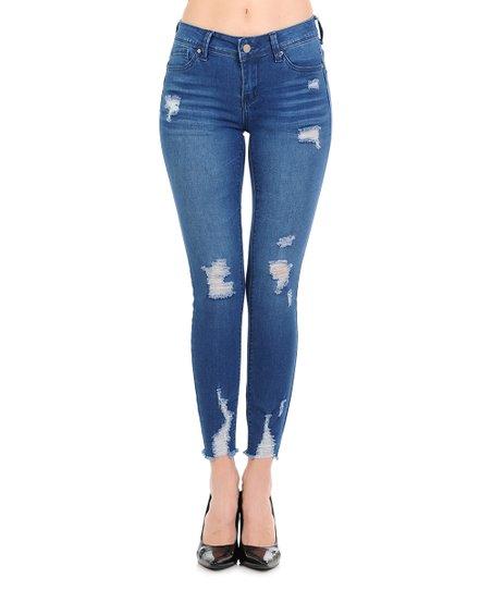 Wax Jean Medium Blue Distressed Raw Hem Push Up Skinny Jeans