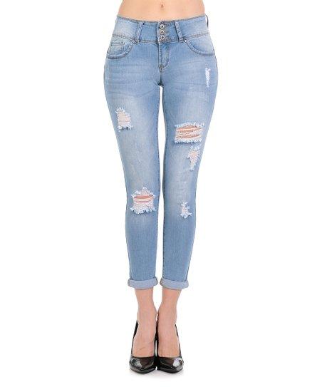 Wax Jean Light Blue Three Button Distressed Cuff Push Up Skinny Jeans Juniors