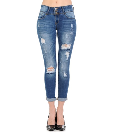 c104f06a84a love this product Medium Blue Three-Button Distressed Cuff Push-Up Skinny  Jeans - Women   Juniors