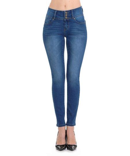 397db616d1e love this product Medium Blue Three-Button Push-Up Skinny Jeans - Women    Juniors