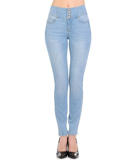 862db063 love this product Light Blue Tummy-Control Push-Up High-Waist Skinny Jeans  - Women