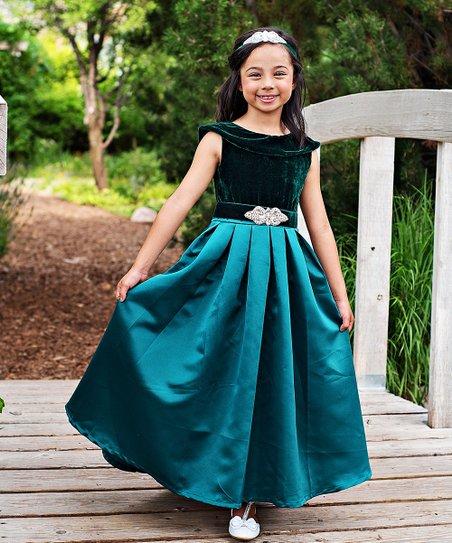 9b20bb4e56fcb Just Couture Emerald Green Amelia Satin-Velvet Blend Gown & Sash ...