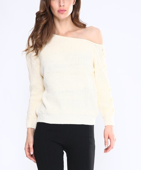 Highness Nyc Ivory Lace Up Sleeve Off Shoulder Sweater Women