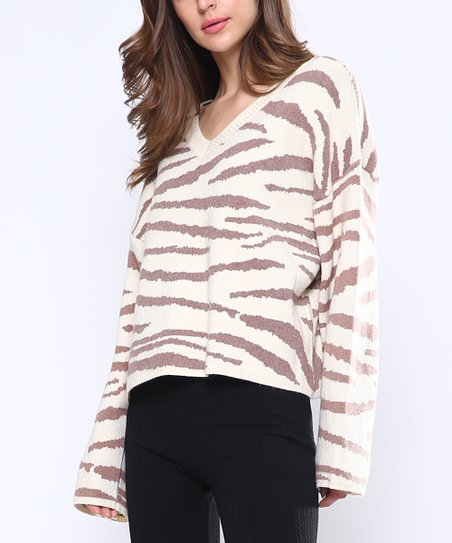 4a4095b64 Highness NYC Ivory   Chocolate Tiger Sweater