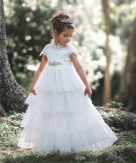 13eab5ea8d37 Trish Scully Child White Ariana Gown - Toddler   Girls