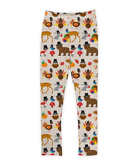 755f50a30711d love this product Ivory, Brown & Orange Thanksgiving Woodland Animals  Leggings - Toddler & Girls