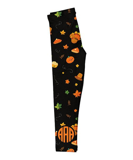 0ff79243f0e41 Mondays Child Black Thanksgiving Monogram Leggings - Toddler & Girls ...