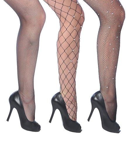 475244aa149c7 Beverly Rock Black Imitation Pearl Fishnet Tights Set - Women   Zulily