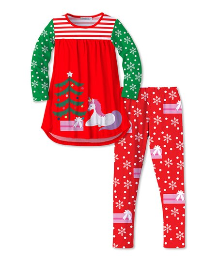 1173f0a046458 love this product Red & Green Unicorn, Christmas Tree & Snow Tunic &  Leggings - Toddler & Girls