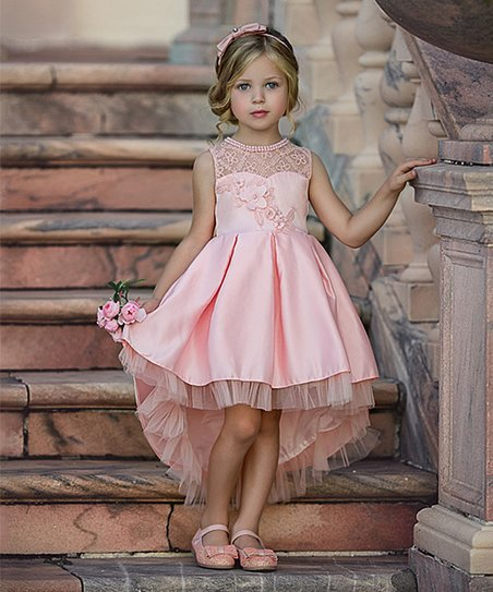 c87028e126157 love this product Pink Floral Lace Pearl Tulle-Trim Sleeveless Hi-Low Dress  - Girls