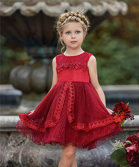 5863ad30e love this product Real Red Lace Pearl Embroidered Sleeveless Fit & Flare  Dress - Toddler