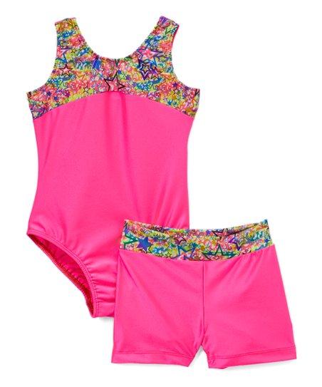 ddac7e96e Reflectionz Pink   Blue Star-Accent Leotard   Shorts - Girls