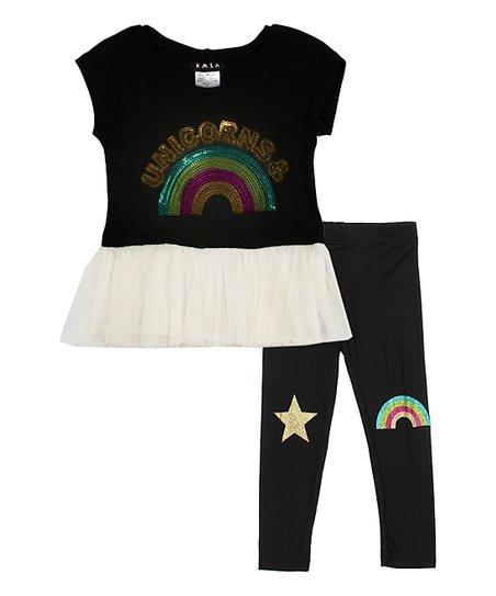 ca3dc2f95434f love this product Black 'Unicorns & (Rainbows)' Tutu Top & Leggings Set -  Toddler