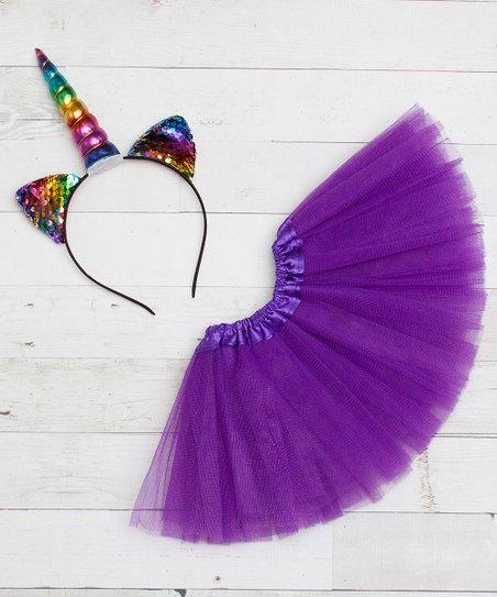 Dress Up Dreams Boutique Purple Tutu   Rainbow Unicorn Headband Set ... 0a0645f98b7