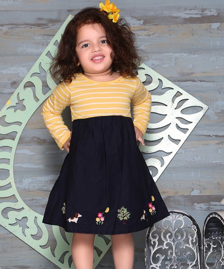 2b0e9acee2fc love this product Navy & Yellow Stripe Embroidered-Hem Empire-Waist Dress -  Newborn, Infant, Toddler & Girls