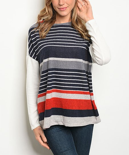 42f92c6f82cbd8 love this product Blue & White Striped Long Sleeve Top - Women