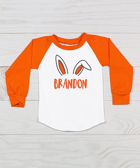 f18f54c1 love this product Orange & White Bunny Ears Personalized Raglan Tee - Infant,  Toddler & Kids
