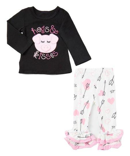 Black 'Hogs & Kisses' Long-Sleeve Top & White Hearts & Arrows Ruffle Pants  - Newborn