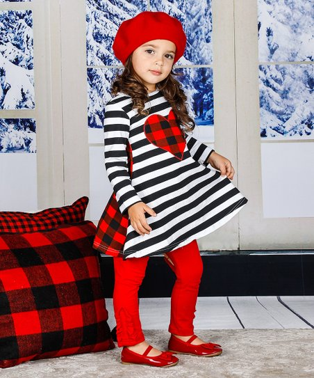 73779b3898f love this product Black   White Stripe Heart Tunic   Red Ruffle Leggings -  Toddler