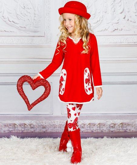f37801e30cf3f love this product Red Pocket V-Neck Tunic & White Heart Leggings - Toddler  & Girls