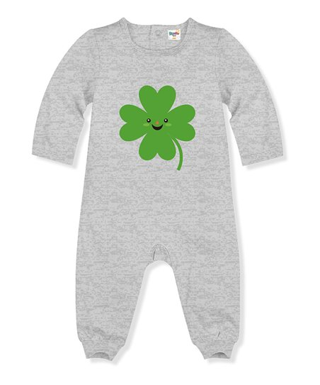 d8aa8287b2e PeppyMini Gray Heather Four Leaf Clover Playsuit - Infant   Toddler ...