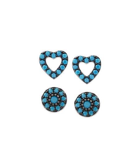 f82f26778 love this product Simulated Turquoise & Sterling Silver Heart & Round Stud  Earrings