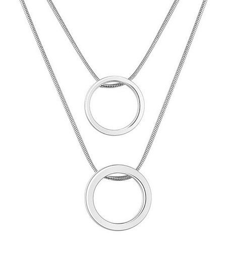 Ag Sterling Jewelry Sterling Silver Ring Layered Pendant Necklace