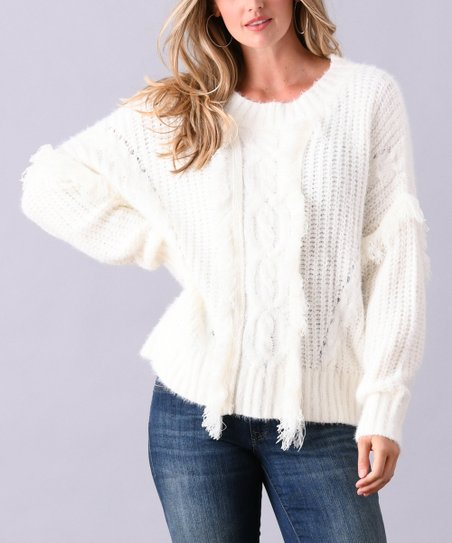 726a70d2c942d love this product White Fringe-Accent Cable Knit Pullover Sweater