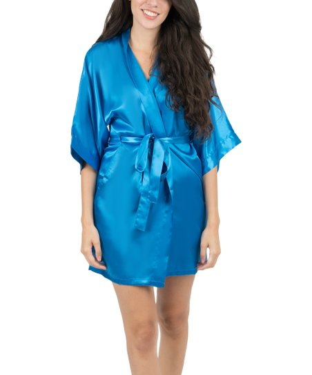 clients first select for clearance quality and quantity assured Leveret Royal Blue Satin Robe - Women