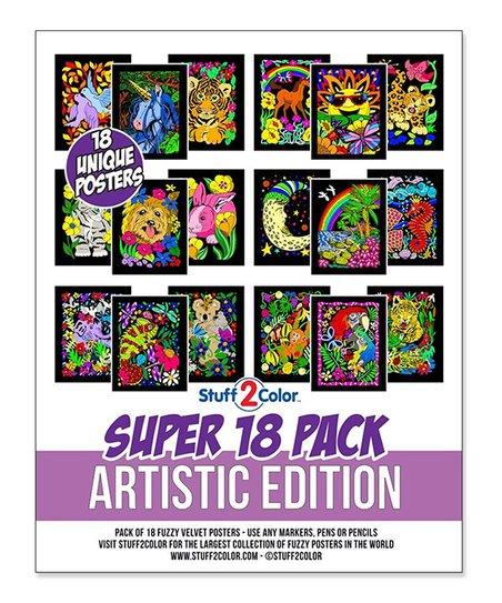 Stuff2Color Artistic Edition 18-Piece Velvet Coloring Poster Set ...