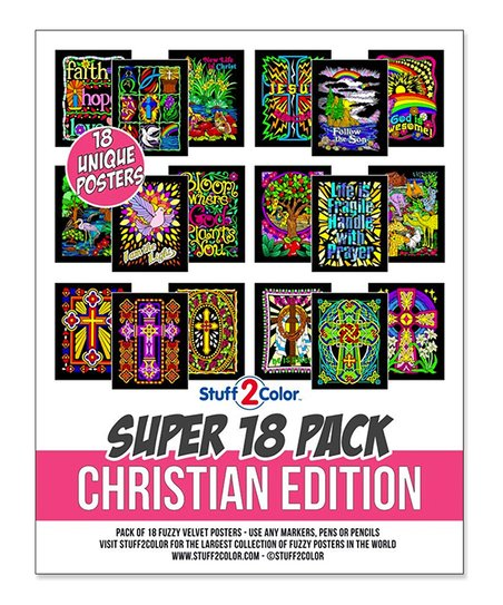 Stuff2Color Christian Edition 18-Piece Velvet Coloring Poster Set