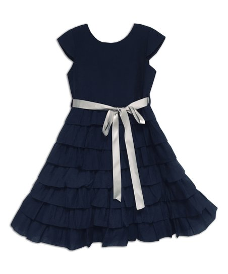 cef8fd3c46a9f9 love this product Navy Ruffle Tiered Cap-Sleeve Dress - Girls