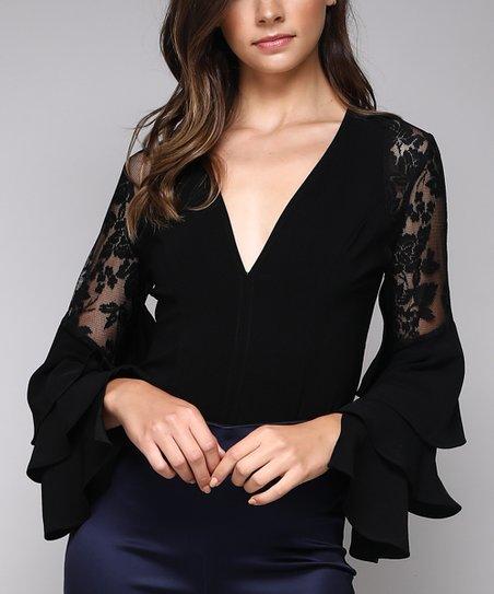 e93f0ab20b5 love this product Black Ruffle-Sleeve V-Neck Bodysuit - Women