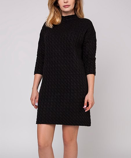2dca415904 MKM Black Cable Knit Sweater Dress - Women & Juniors | Zulily