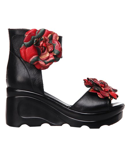 bc848d8fd54 love this product Black Floral Leather Ankle-Strap Sandal - Women