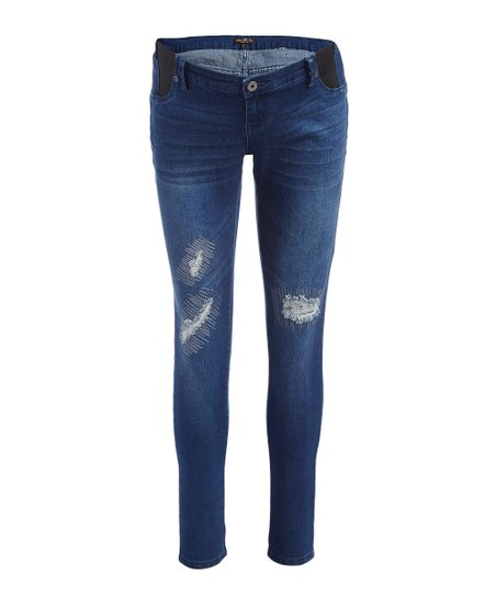 25d62be2dc9 Mom & Co Dark Wash Deconstructed Maternity Jeans | Zulily