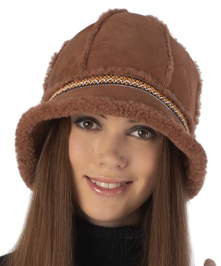 18a2e88cd4e46 MOMO Maternity Brown   Orange Geometric-Trim Shearling Bucket Hat ...
