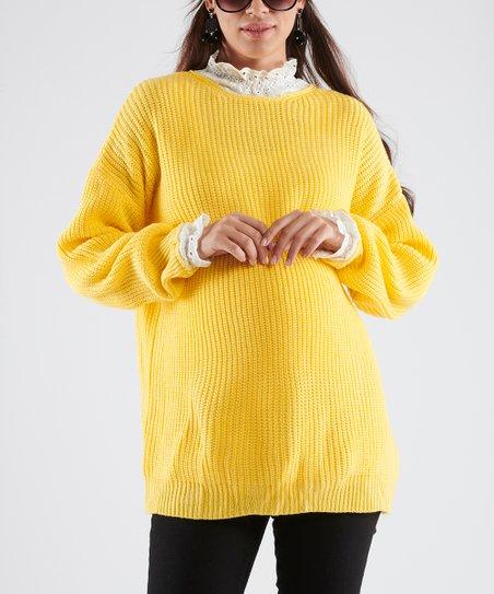 1fe17cbec0005 37.5 Beloved Yellow Cutout-Back Maternity Sweater | Zulily