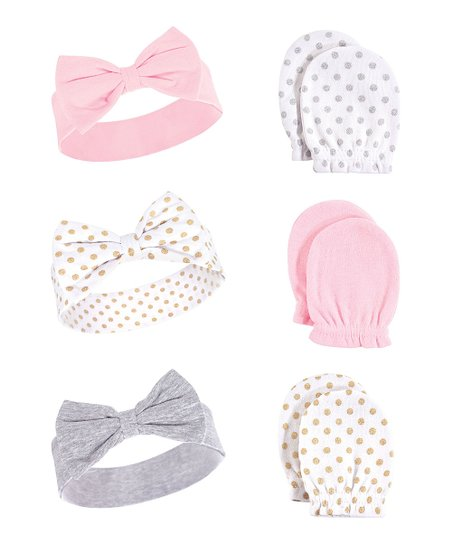 5a8af4b74e0 Hudson Baby Dotted Six-Piece Headband   Scratch Mitten Set