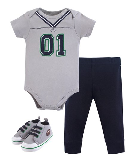 Little Treasure Gray Football Jersey Bodysuit Set - Newborn   Infant ... 1ca2c458e