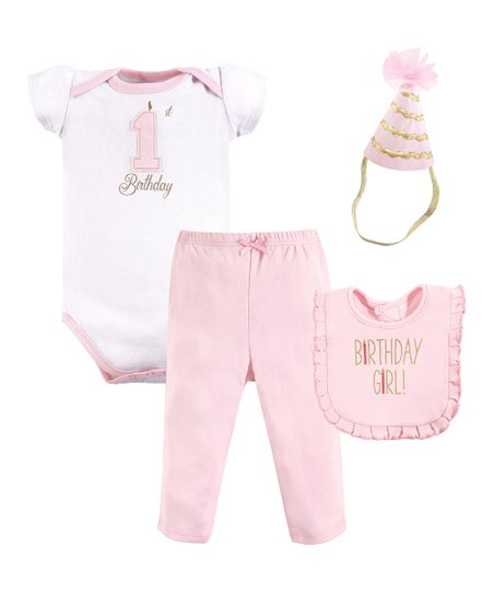 Love This Product Pink White 1st Birthday Bodysuit Set