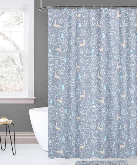 Indecor Blue Reindeer Shower Curtain Bath Rug Set Zulily