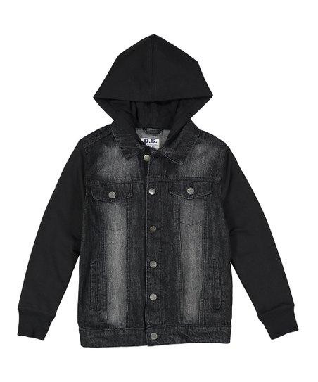 P S From Aeropostale Black Hooded Denim Jacket Boys Zulily