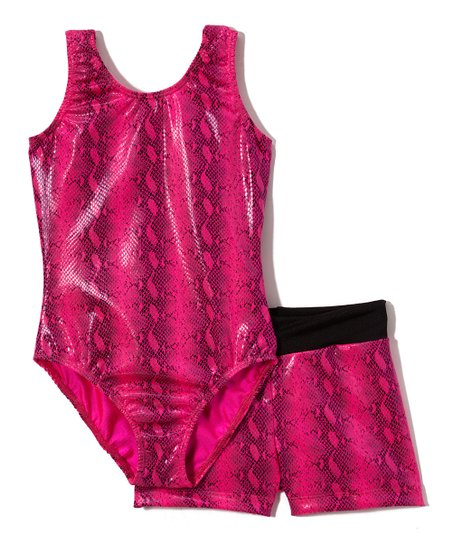 24ad96ffc Reflectionz Hot Pink Snake Leotard   Shorts - Girls