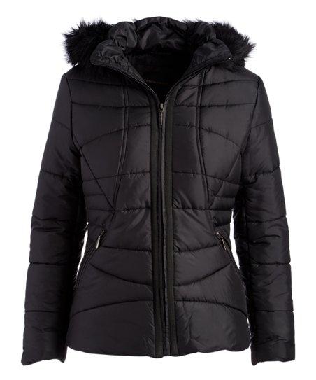 5de6a27ff Weatherproof Black Faux Fur-Lined Hooded Puffer Jacket - Women